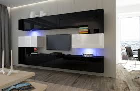 wohnzimmer set 10 einzelteile anbauwand wohnwand wohnwände schrankwand modernes wohnzimmer neu albania nx 3 schwarz weiß hochglanz