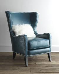 amazing winged leather armchair blue high back leather wing chair