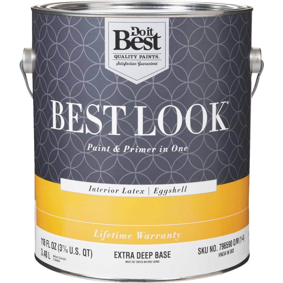 Best Look Paint and Primer in One Enamel - Interior Latex, Eggshell, 3.48L