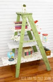 This Pretty Vintage Floral Mod Podged Ladder Shelving Is So Easy To Create With A