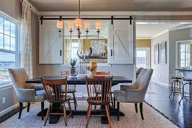 Creating Visual Connection Between Kitchen And Dining With Small Window Sliding Doors From