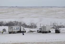 100 Trucks In Snow Two Semi Trucks Jackknife In Icy Conditions Near Casper Snow Snarls