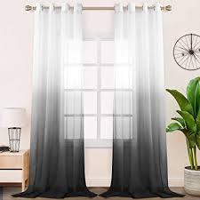 floweroom gardinen vorhang transparent voile für schlafzimmer und wohnzimmer 140 x 260 cm schwarz gardine farbverlauf fenster vorhänge mit ösen