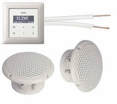 gira unterputz radio unterputzradio 228403 reinweiß glänzend komplett set 2 x deckenlautsprecher weiß feuchtraum badezimmer einbaulautsprecher