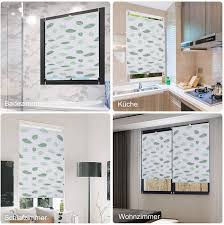pleated blind roller blind fixfix without drilling with green leaf motif 95 x 130 cm