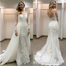 Elegant Sheath Wedding Dresses With Detachable Train Illusions Long