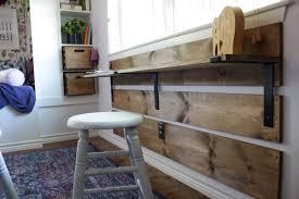 house homemade diy kids desk with shelf brackets