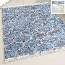 de mynes home waschbarer teppich hell blau