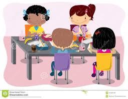 Kids Having Lunch Stock Vector Illustration Of Eating