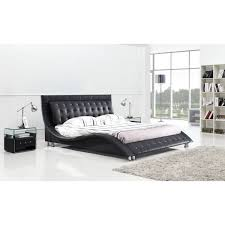 The Curvy Shape Of Dublin Queen Size Platform Bed Gives It A Stylish Appearance That Improves Your Bedroom Decor Constructed Wood And Leatherette