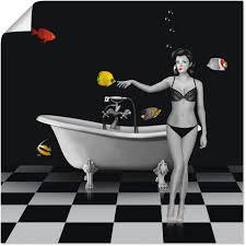 artland wandbild ein badezimmer für fische frau 1 stück in vielen größen produktarten alubild outdoorbild für den außenbereich