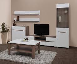wohnzimmer komplett set c comillas 6 teilig farbe nuss weiß