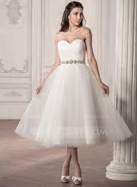 A Line Princess Sweetheart Tea Length Tulle Wedding Dress With