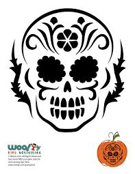 Skeleton Pumpkin Carving Patterns Free by Dia De Los Muertos Skull Pumpkin Carving Woo Jr Kids Activities