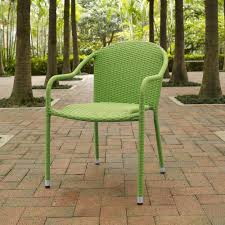 Crosley Furniture - Palm Harbor Outdoor Wicker Stackable Chairs - Set Of 4  Green - CO7109-GR Gdf Studio Dorside Outdoor Wicker Armless Stack Chairs With Alinum Frame Dover Armed Stacking With Set Of 4 Palm Harbor Stackable White All Weather Patio Chair Bay Island Noble House Multibrown Ding 2pack Plowhearth Bistro Two 30 Arm Brown 51 Bfm Seating Ms11cbbbl Gray Rattan Inoutdoor Restaurant Of Red By Crosley Fniture