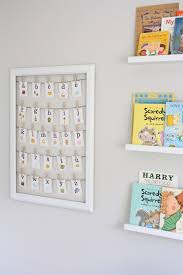 Cute ideas for nursery walls love the book display and framed