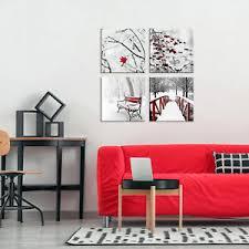 details zu schnee vlies leinwand deko bilder winter wand wohnzimmer 2motiv modern 4tlg