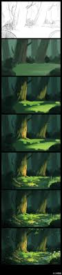 Emma Nightingale Tutorial Digital Painting Looks Kinda Like The Forest That Turtles Live In Right Now