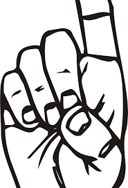 Clipart Sign language D finger pointing