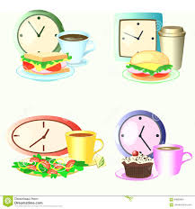 Free Time Clock With Lunch Break Vector Set Of