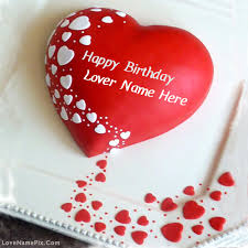 Write Name on Red Heart Lovers Birthday cake Picture