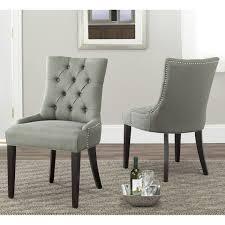 Amazing Safavieh Marseille Grey Linen Nailhead Dining Chairs Set Of 2 Overstock Room Prepare