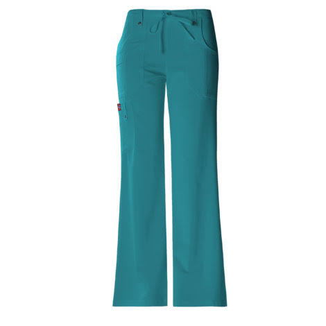 Dickies Womens Xtreme Stretch Scrub Drawstring Flare Pants - Teal, X-Large