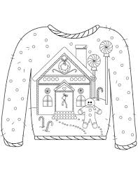 Christmas Ugly Sweater With Gingerbread Man Motif Coloring Page