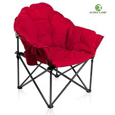 Alpha Camp Oversized Moon Saucer Chair With Folding Cup Holder And Carry  Bag -
