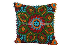 Suzani Outdoor Pillows Pom Pillow Cover 16x16 Bohemian Indian Cushion
