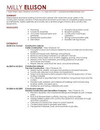 Construction Labor Resume Sample