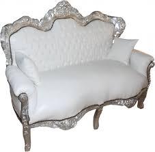 casa padrino barock 2 er sofa king weiß lederoptik silber wohnzimmer möbel lounge