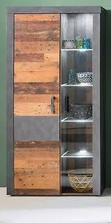 vitrinenschrank vitrine used wood grau mit beleuchtung wohn esszimmer indy ebay