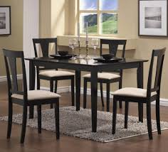 Dining Room Modern Classic Style Black Sets With White Cushion Chairs And