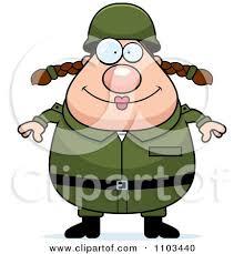 Happy Chubby Caucasian Army Woman By Cory Thoman