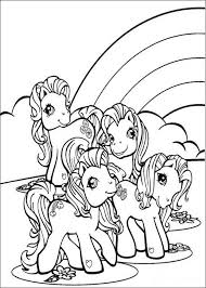 Ponies And Rainbow Coloring Page
