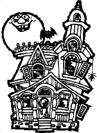 How To Drawing Haunted House Coloring Page