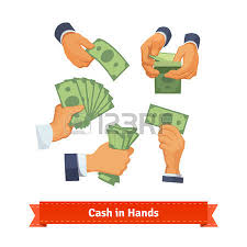 Hand poses counting giving taking squeezing and showing green cash Flat style