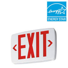 lithonia lighting plastic white led emergency exit sign with