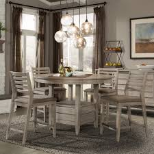 Corliss Landing Wood Counter Height Table In Weathered Driftwood Grey