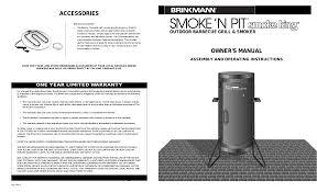 Brinkmann Electric Patio Grill Manual by Brinkmann Smoke U0027n Pit Outdoor Barbecue Grill U0026 Smoker User Manual