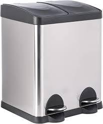 onvaya doppel tretmülleimer leo edelstahl 30l mülltrennsystem für die küche duo abfalleimer in silber schwarz müllbehälter 2x 15l