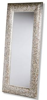 Phanta Coastal Mother Of Pearl Tan Rose Large Leaning Modern Floor Mirror Beach Style