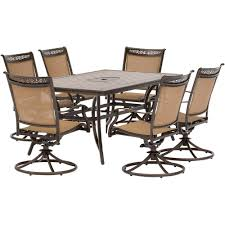 Hanover Fontana 7-Piece Alumninum Rectangular Outdoor Dining Set ... Hanover Traditions 5piece Alinum Outdoor Ding Set With Swivel Chairs With Casters A R T Valencia Castered Chair In Indoor Chromcraft Kitchen Revington Table Amazoncom Morocco Square And Four On Wheels Tvdesignorg Astounding Value City Fniture Room Cool Haddie 8 Cancupinfo Mesmerizing Cheap Dinette Sets Immaculate Lowes Sling Covers Six Patio Cushion Tilt Coaster Mitchelloak 5 Piece 3in1 Game Alkar Billiards