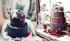 Rustic Winter Chocolate Wedding Cakes