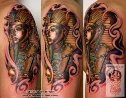 Grey Ink Egyptian Pyramids Tattoo Photo