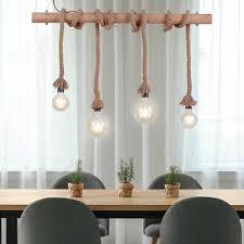 vintage hänge leuchte holz balken seil tau design esstisch