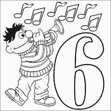 Ernie Number 6 Coloring Pages