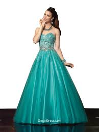 classic ball gown strapless sweetheart long green prom dress