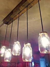 Decorating Clear Glass Mason Jar Pendant Light Shade Feature